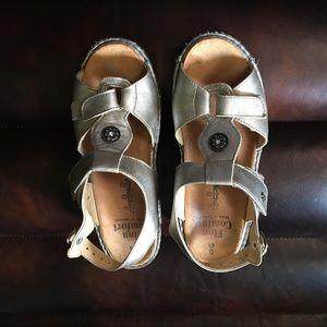 Finn Comfort Sandals Metallic Grey Leather SZ 4.5